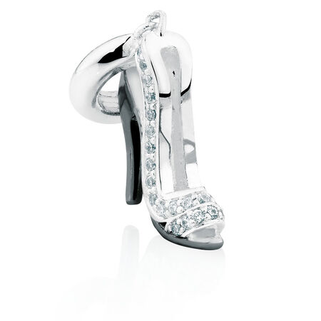Cubic Zirconia Set & Sterling Silver High Heel Dangle Charm