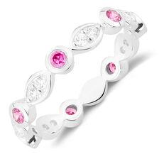 White & Pink Cubic Zirconia Stack Ring
