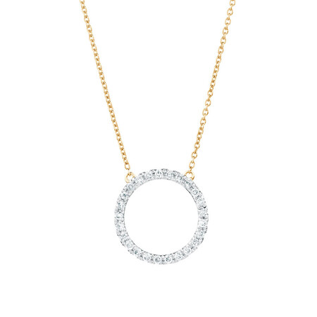 Geometric Circle Necklace with Diamonds in 10kt Yellow Gold