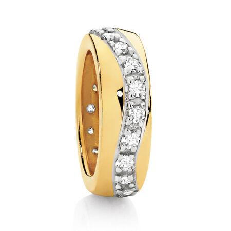 Diamond Set & 10kt Yellow Gold Spacer