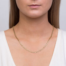 "50cm (20"") Hollow Figaro Chain in 10kt Yellow Gold"
