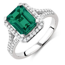 Ring with Created Emerald & 1/3 Carat TW of Diamonds in 10kt White Gold