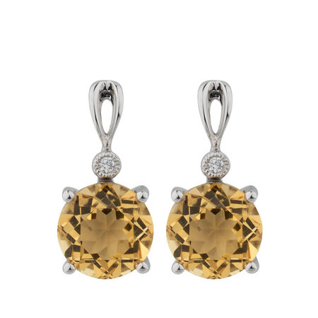 Online Exclusive - Earrings with Citrine & Diamonds in 10kt White Gold