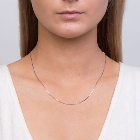 "45cm (18"") Box Chain in 14kt White Gold"