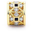 Created Sapphire, Diamond Set & 10kt Yellow Gold Charm