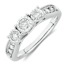 Online Exclusive - Three Stone Engagement Ring with 1/2 Carat TW of Diamonds in 14kt White Gold