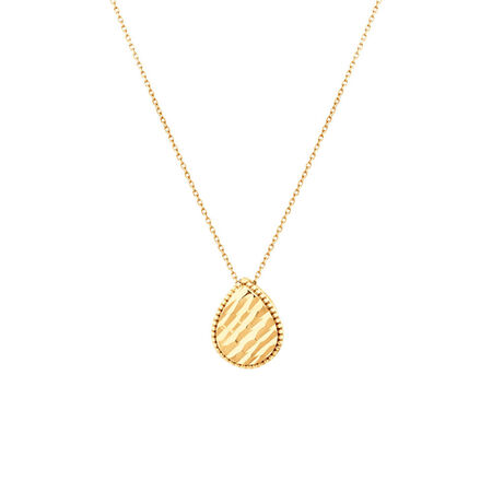 Patterned Pear Pendant in 10kt Yellow Gold