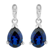 Drop Earrings with Created Sapphire & Diamonds in 10kt White Gold