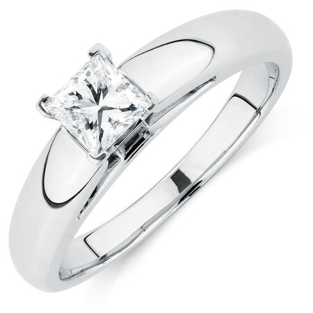 Certified Solitaire Engagement Ring with a 1/2 Carat Diamond in 14kt White Gold
