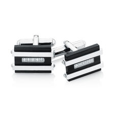 Men's Cuff Links with Cubic Zirconia in Black PVD Plated Stainless Steel