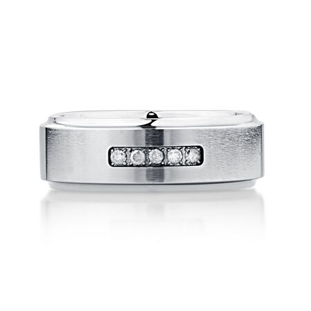 8mm Men's Ring with Enhanced Gray Diamonds in Gray Tungsten