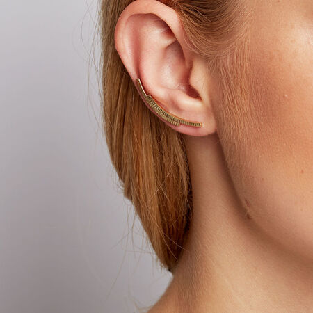 Patterned Ear Climbers in 10kt Yellow Gold