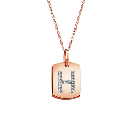 """H"" Initial Rectangular Pendant With Diamonds In 10ct Rose Gold"