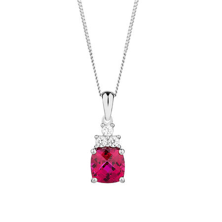 Pendant with Created Ruby & Created White Sapphire in Sterling Silver