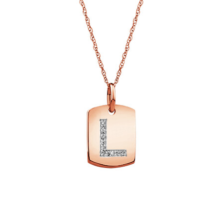 """L"" Initial Rectangular Pendant With Diamonds In 10ct Rose Gold"