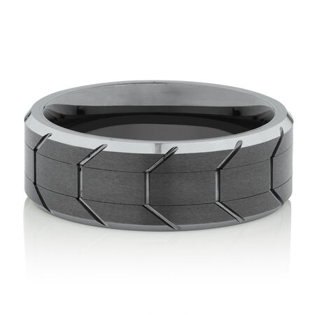 8mm Patterned Men's Ring in Gray Tungsten