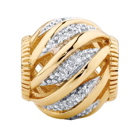Diamond Set 10kt Yellow Gold Wave Charm