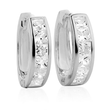 Hoop Earrings with Cubic Zirconia in Sterling Silver