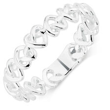 Sterling Silver Locked Hearts Stack Ring