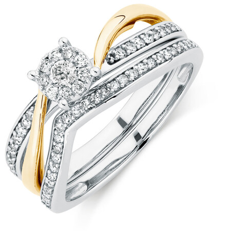 Bridal Set with 1/3 Carat TW of Diamonds in 10kt White & Yellow Gold