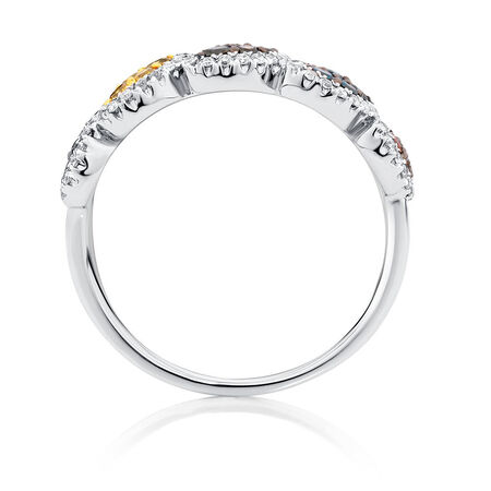 Online Exclusive - Ring with 0.54 Carat TW of Enhanced Multi-Coloured Diamonds in 10kt White Gold