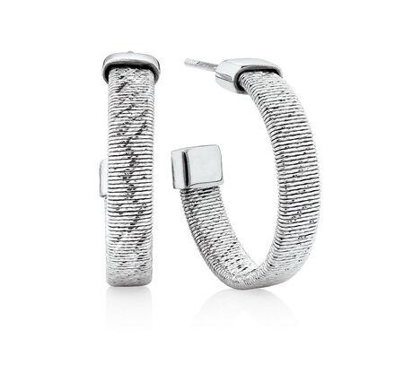 Patterned Open Hoop Earrings in Stainless Steel & Sterling Silver