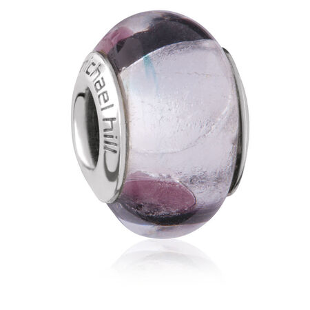 Purple & Black Murano Glass Charm