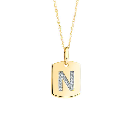 """N"""" Initial Rectangular Pendant With Diamonds In 10kt Yellow Gold"""
