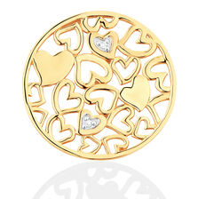 Diamond Set 10kt Yellow Gold Hearts Coin Locket Insert
