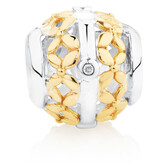 Diamond Set Filigree Charm in 10kt Yellow Gold & Sterling Silver