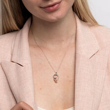 Small Knots Pendant with 1/6 Carat TW of Diamonds in Sterling Silver & 10kt Rose Gold