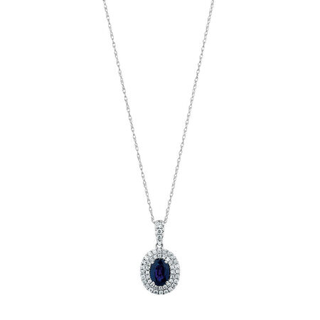 Michael Hill Designer Pendant with Sapphire & 3/8 Carat TW of Diamonds in 14kt White & Rose Gold