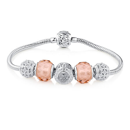 "19cm (7.5"") Starter Charm Bracelet with Cubic Zirconia & Blush Crystal in Sterling Silver"