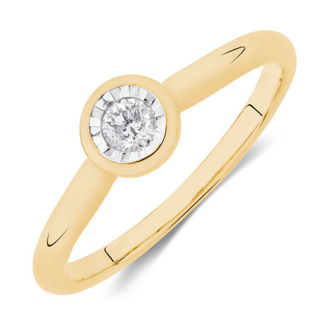 Solitaire Promise Ring with a Diamond in 10kt White & Yellow Gold