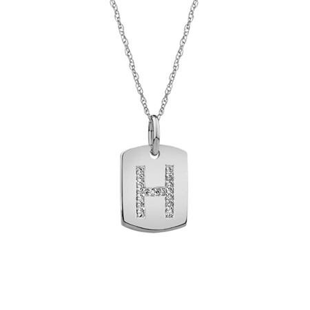 """""""H"""" Initial Rectangular Pendant With Diamonds In 10ct White Gold"""