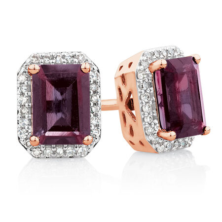 Stud Earrings with Rhodolite Garnet & 0.15 Carat TW of Diamonds in 10kt Rose Gold