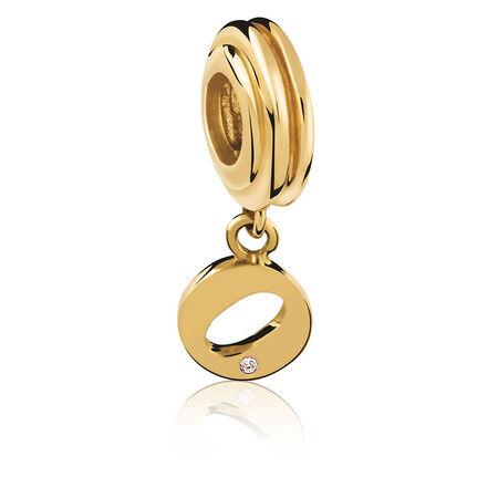 Diamond Set & 10kt Yellow Gold 'O' Charm