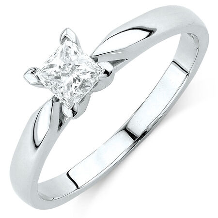 Evermore Solitaire Engagement Ring with 1/2 Carat Diamond in 14kt White Gold
