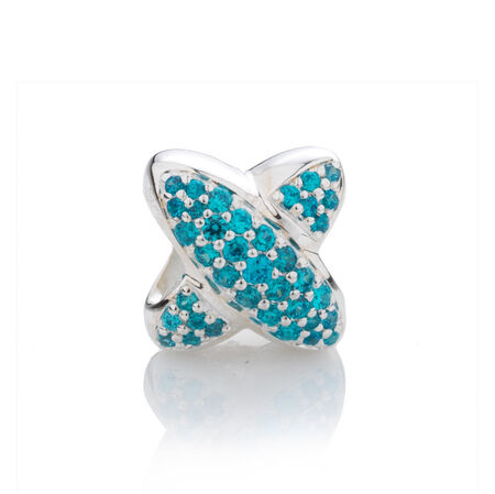 Online Exclusive - Letter 'X' Charm with Blue Cubic Zirconia in Sterling Silver