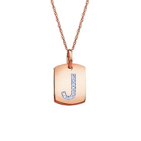 """J"" Initial Rectangular Pendant With Diamonds In 10ct Rose Gold"
