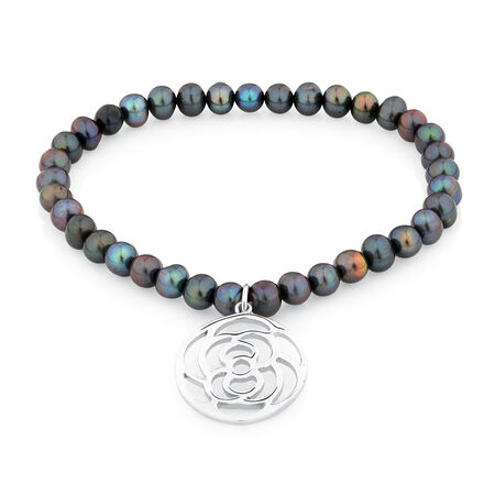 "19cm (7.5"") Elastic Bracelet with Sterling Silver Rose in Black Cultured Freshwater Pearl"
