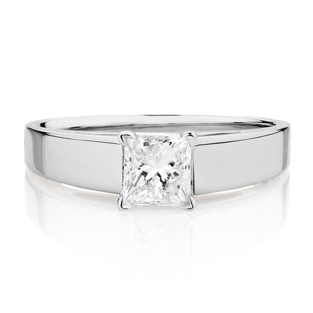 Solitaire Engagement Ring with a 3/4 Carat Diamond in 14kt White Gold