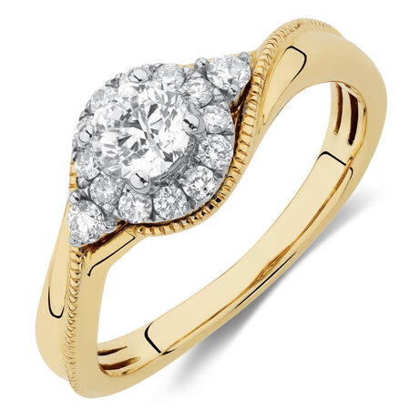 Engagement Ring with 5/8 Carat TW of Diamonds in 10kt Yellow & White Gold