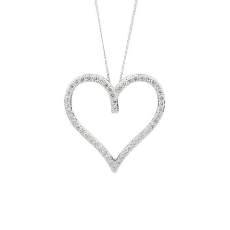 Online Exclusive - Heart Pendant with 1 Carat TW of Diamonds in 10kt White Gold