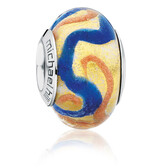 Gold, Blue & Amber Murano Glass Charm