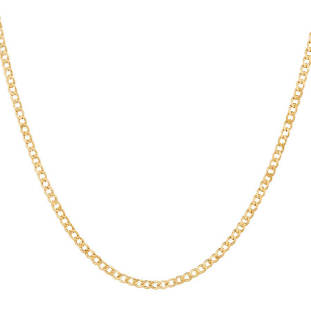"70cm (28"") Hollow Curb Chain in 10kt Yellow Gold"