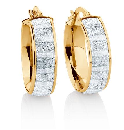 Glitter Hoop Earrings in 10kt Yellow Gold