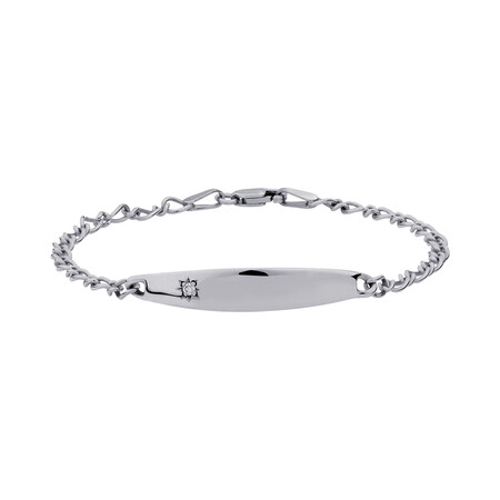"14.5cm (6"") Baby Identity Bracelet with a Pink Cubic Zirconia in 10kt White Gold"
