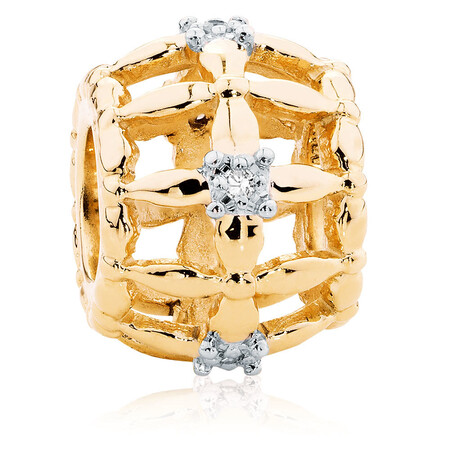 Diamond Set & 10kt Yellow Gold Cage Charm