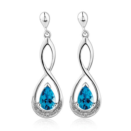 Drop Earrings with Blue Topaz & Diamonds in 10kt White Gold